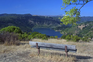 Bench with lake landscape
