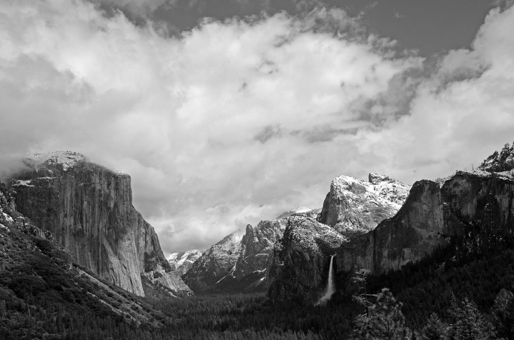 Black and White Yosemite With Snow